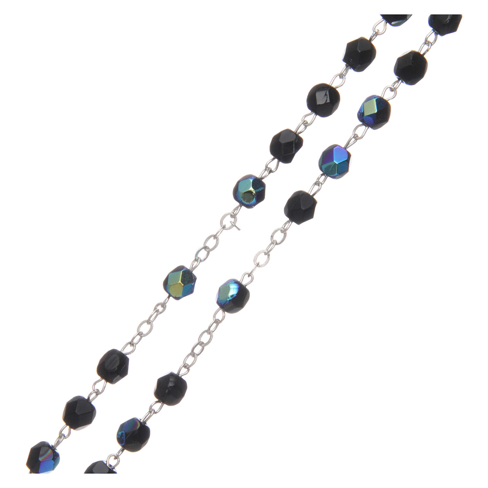 Chapelet semi-cristal 2 mm noir iridescent 4