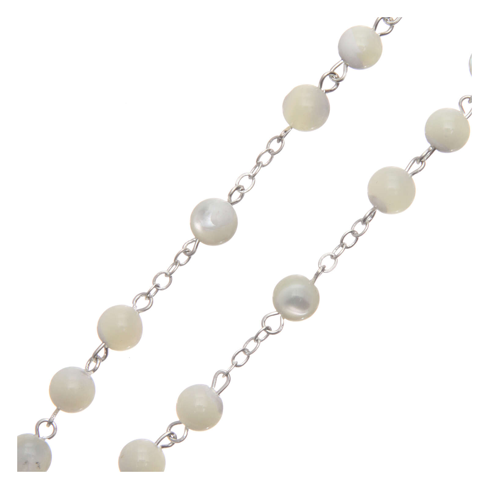 Rosary real mother-of-pearl round pearls 6 mm 4