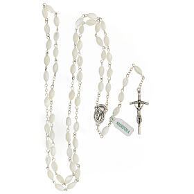 Rosary real mother-of-pearl oval pearls 5x8 mm s4