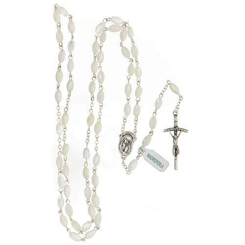 Rosary real mother-of-pearl oval pearls 5x8 mm 4