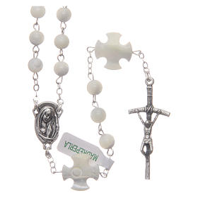Rosary in genuine Mother of Pearl, round 6 mm beads s1