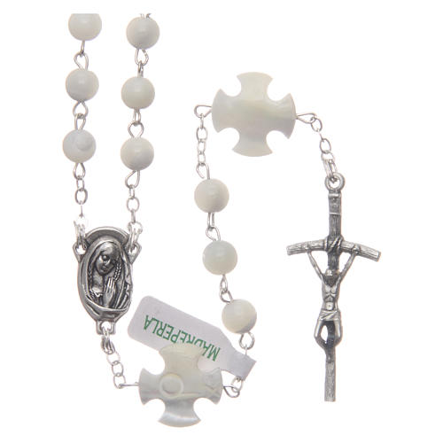 Rosary in genuine Mother of Pearl, round 6 mm beads 1