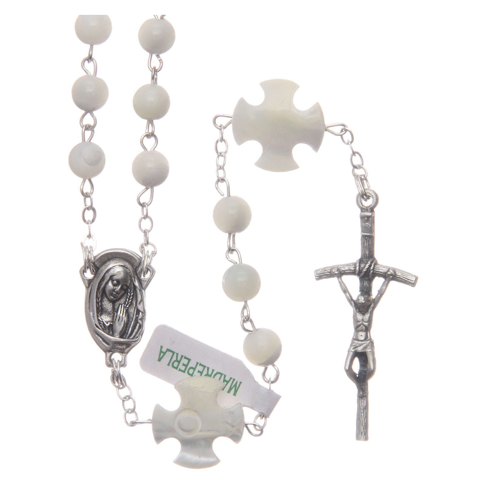 Mother-of-pearl rosary with round pearls and cross shaped Our Father 6 mm 4