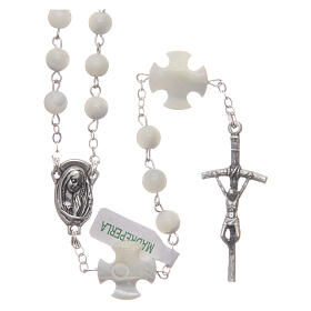 Mother-of-pearl rosary with round pearls and cross shaped Our Father 6 mm s1