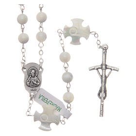 Mother-of-pearl rosary with round pearls and cross shaped Our Father 6 mm s2