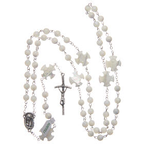 Mother-of-pearl rosary with round pearls and cross shaped Our Father 6 mm s4