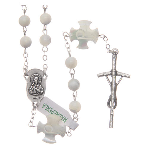 Mother-of-pearl rosary with round pearls and cross shaped Our Father 6 mm 2
