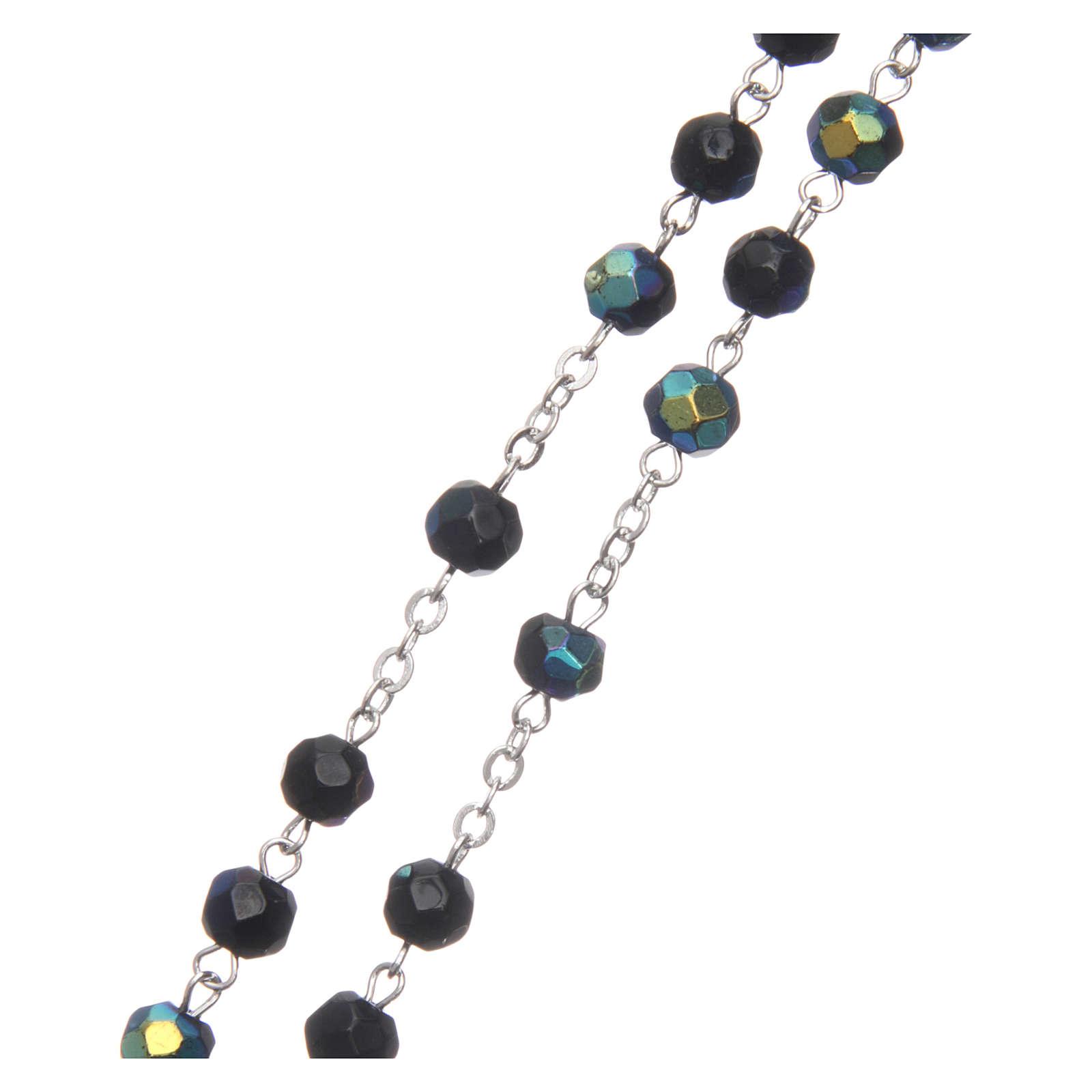 Chapelet semi-cristal noir iridescent 6 mm chaîne métal 4