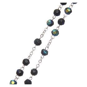 Chapelet semi-cristal noir iridescent 6 mm chaîne métal s3