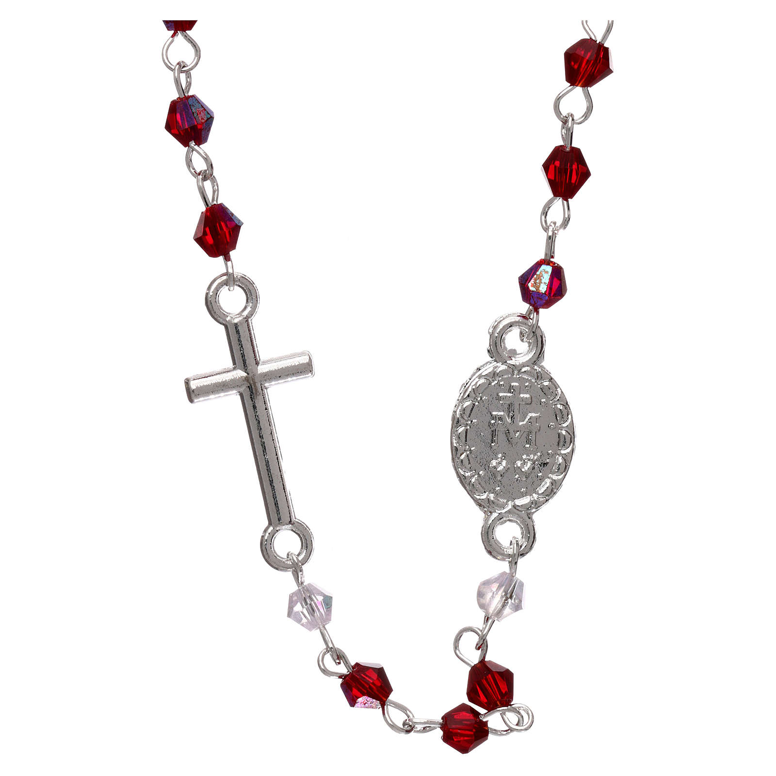 Rosary necklace in semi-crystal with 3 mm oval grains, iridescent red 4
