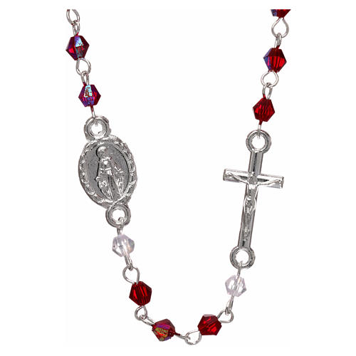 Rosary necklace in semi-crystal with 3 mm oval grains, iridescent red 1
