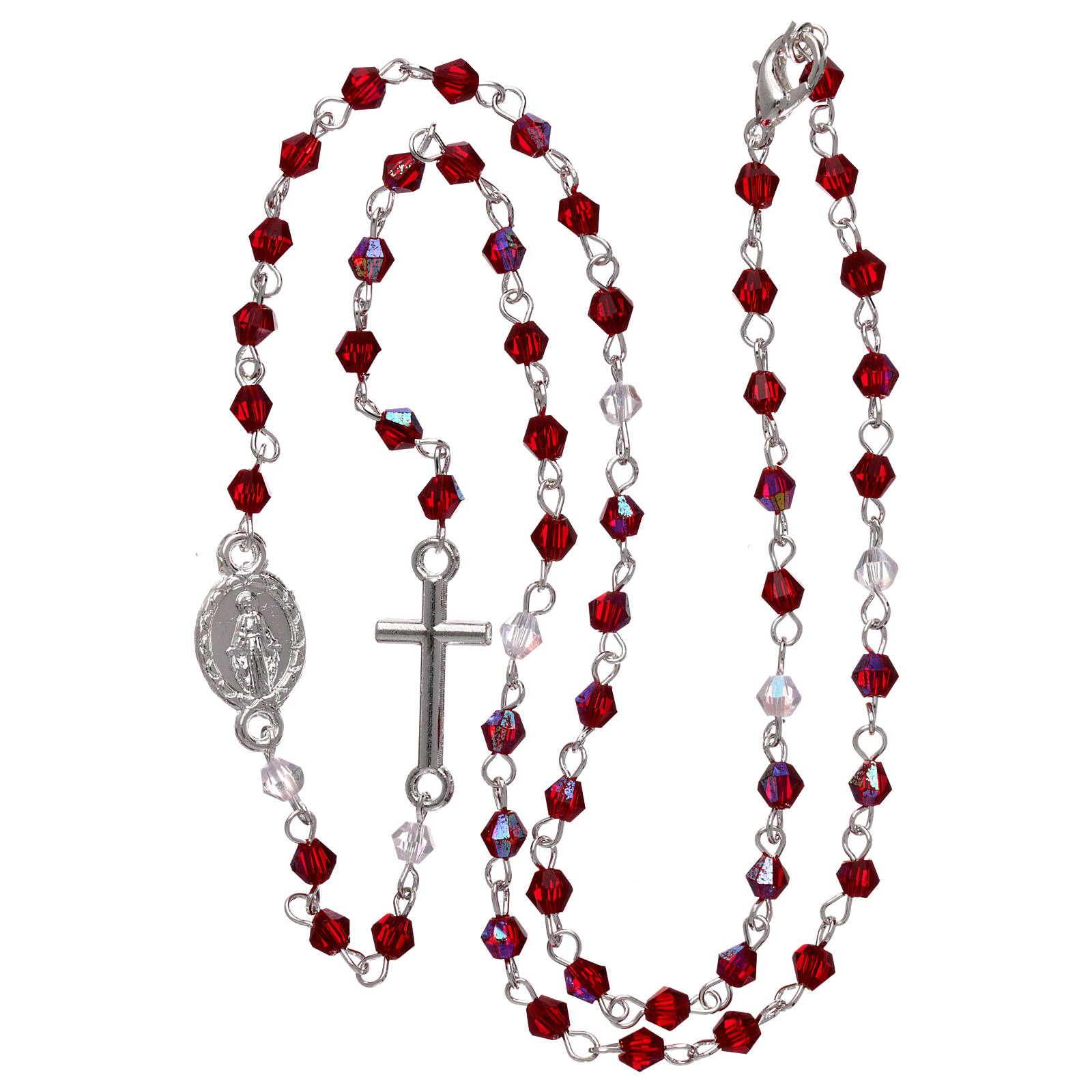 Rosario a collana mezzo cristallo 3 mm ovale rosso iridescente 4