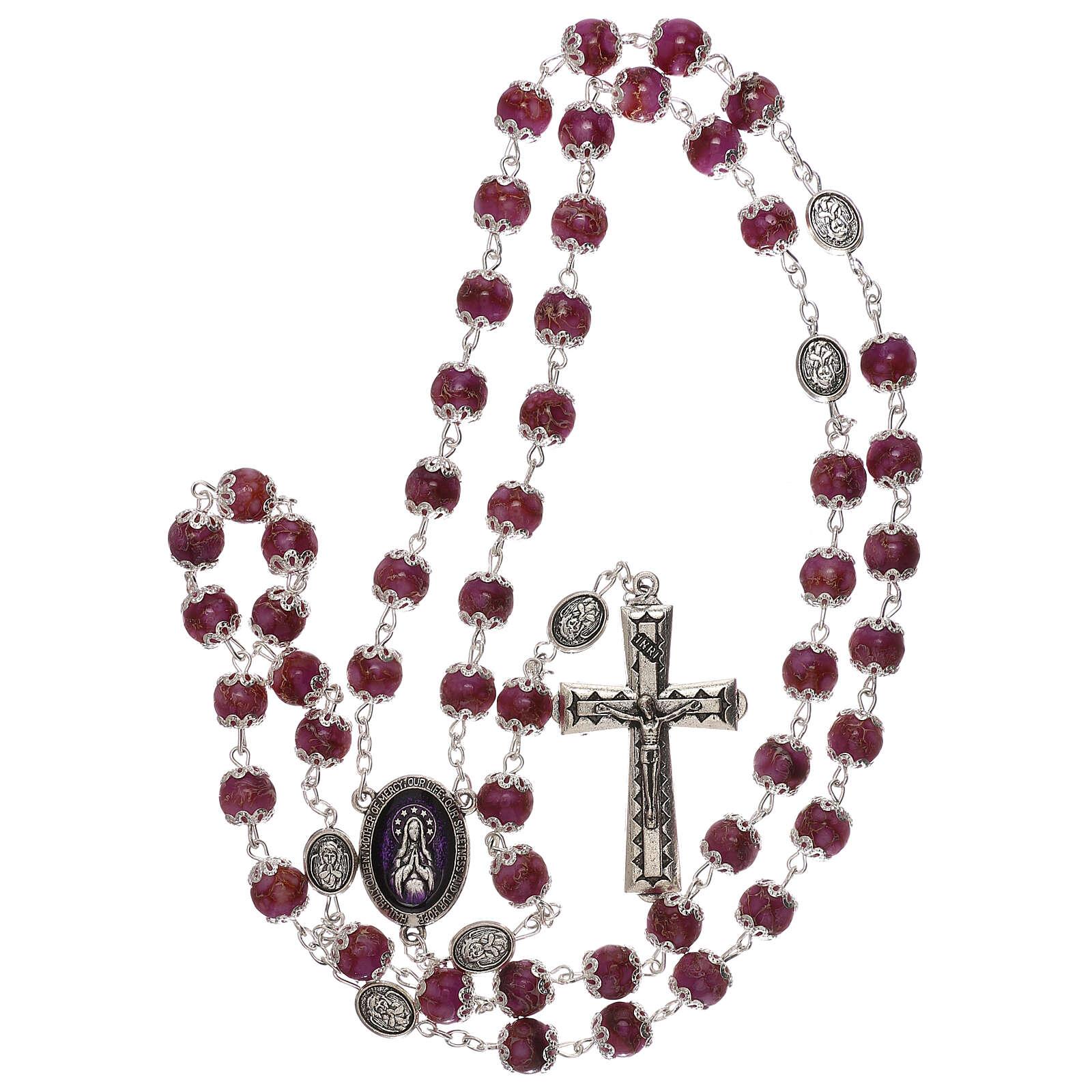 Rosario Virgen que reza vidrio violeta 6 mm 4
