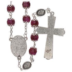Rosario Virgen que reza vidrio violeta 6 mm s2