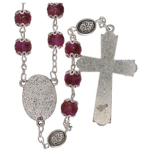 Rosario Virgen que reza vidrio violeta 6 mm 2
