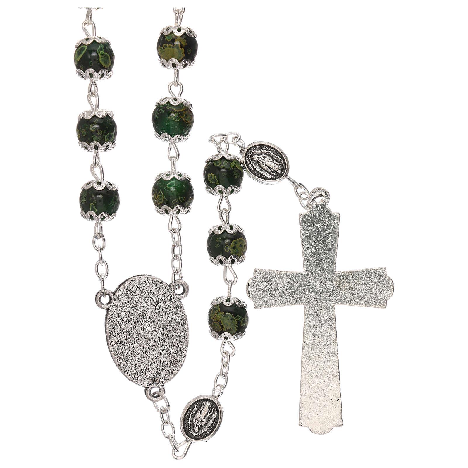 Chapelet Notre-Dame de Guadalupe verre vert 6 mm 4