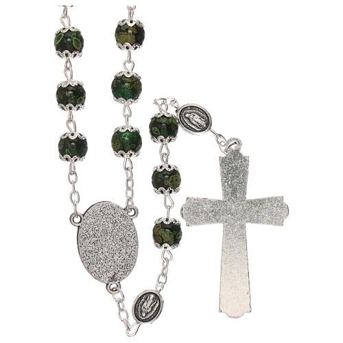 Chapelet Notre-Dame de Guadalupe verre vert 6 mm 2