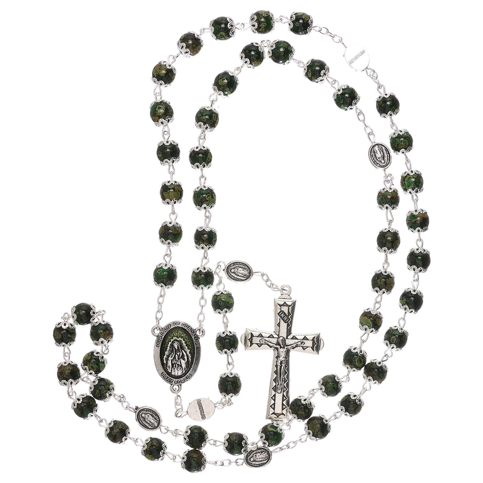 Rosario Madonna Guadalupe vetro verde 6 mm 4