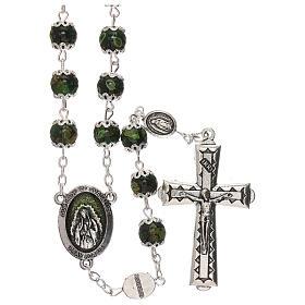 Rosario Madonna Guadalupe vetro verde 6 mm s1