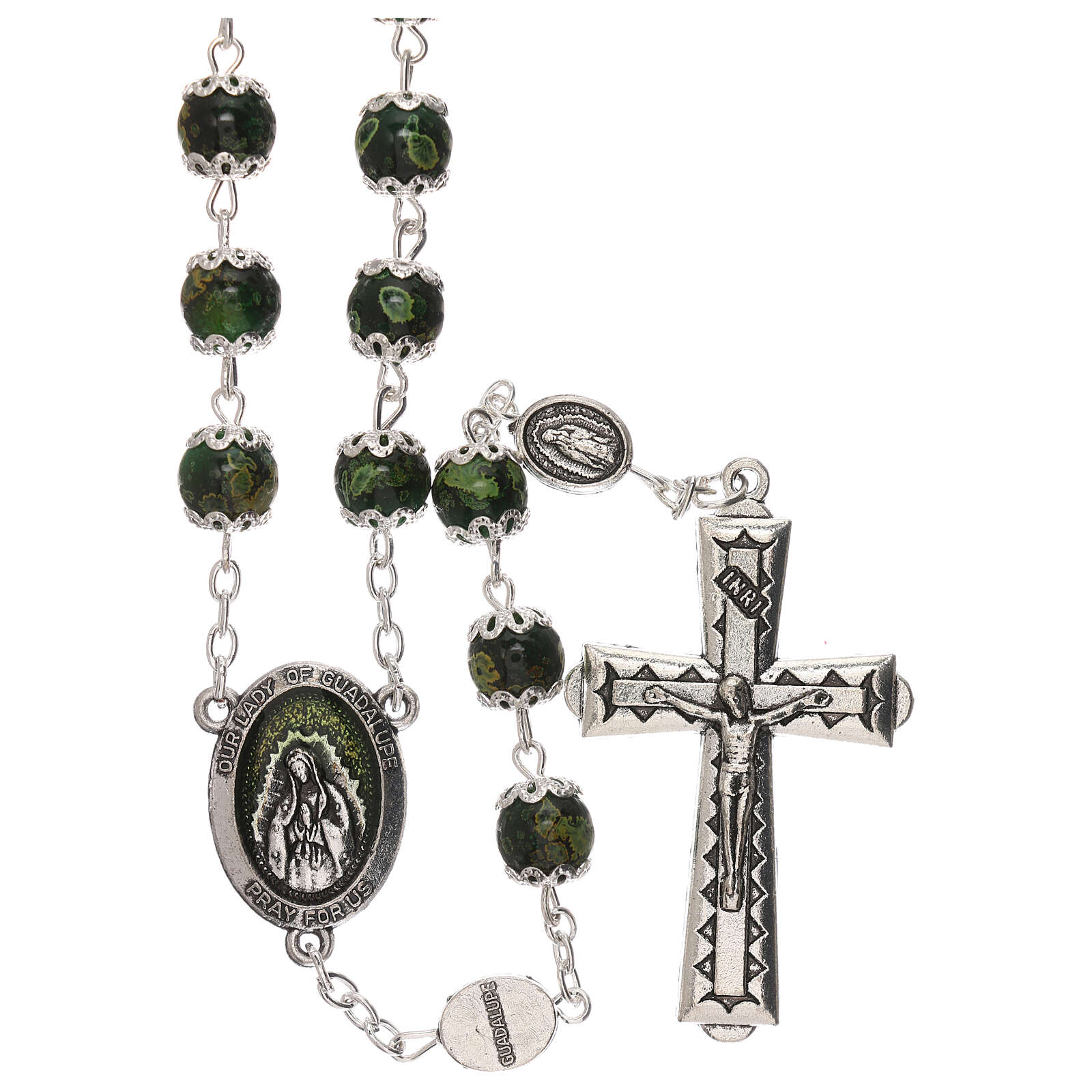 Our Lady of Guadalupe rosary green glass 6 mm 4