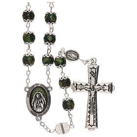 Our Lady of Guadalupe rosary green glass 6 mm s1