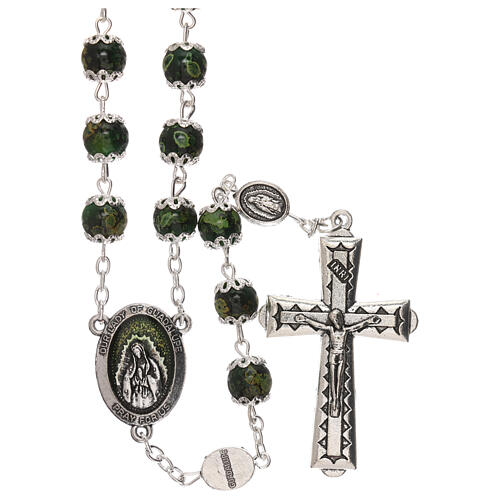 Our Lady of Guadalupe rosary green glass 6 mm 1