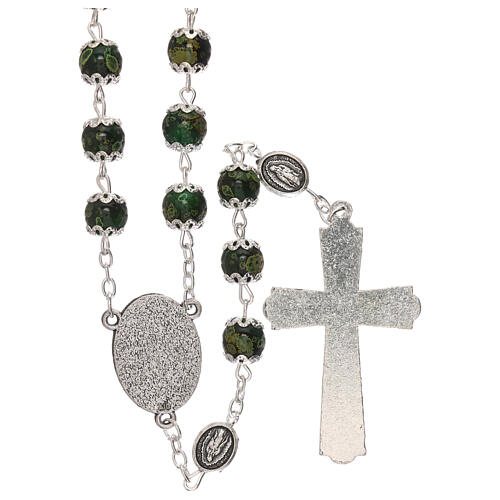 Our Lady of Guadalupe rosary green glass 6 mm 2