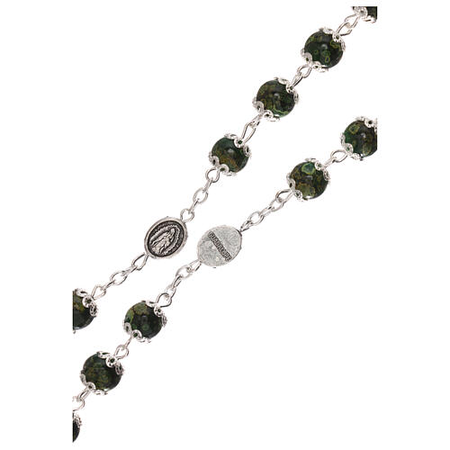 Our Lady of Guadalupe rosary green glass 6 mm 3