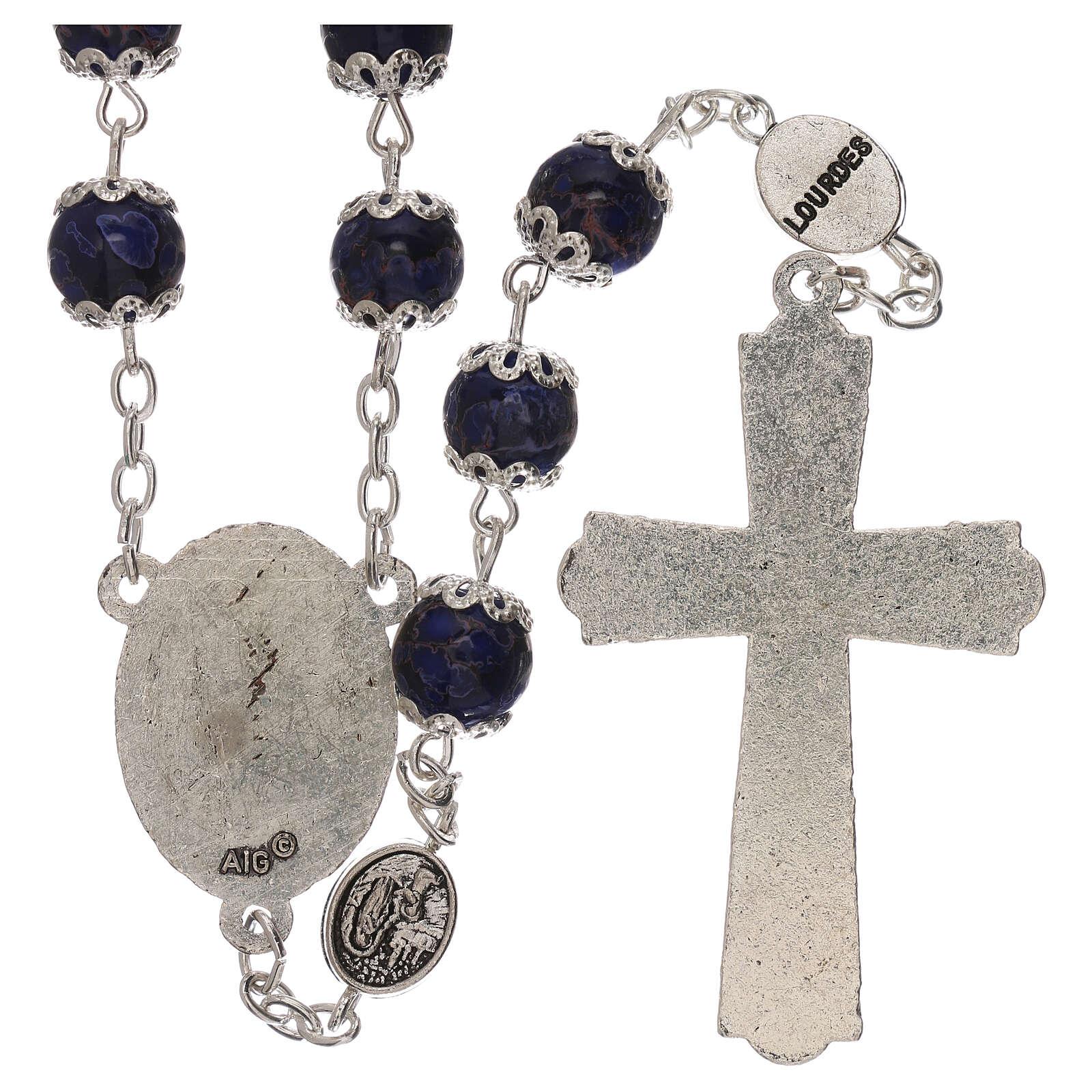 Rosario Virgen de Lourdes vidrio azul 6 mm 4