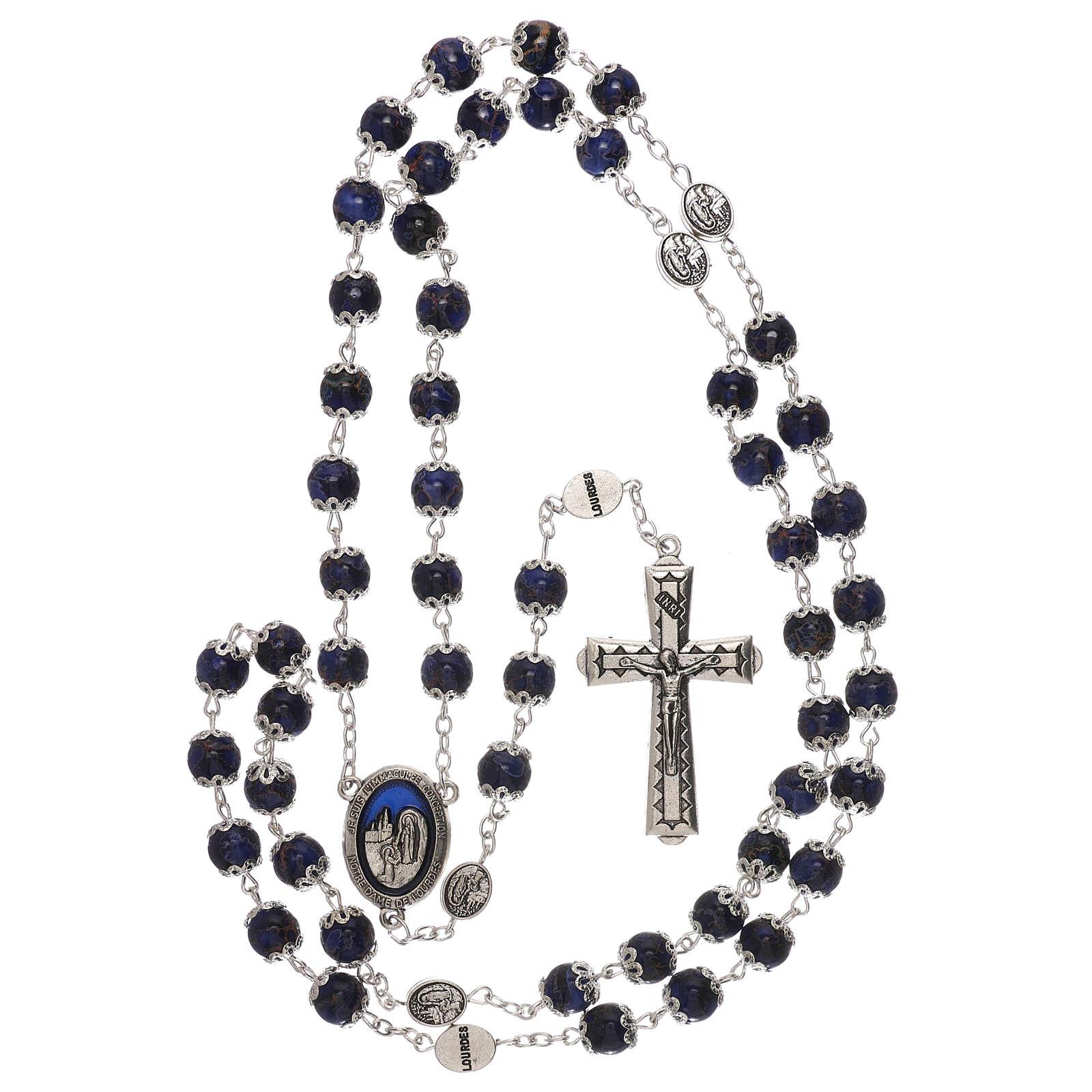 Rosario Madonna di Lourdes vetro blu 6 mm 4