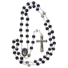 Rosario Madonna di Lourdes vetro blu 6 mm s4