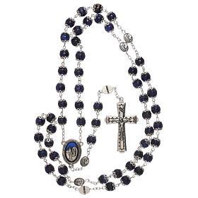Terço Nossa Senhora Lourdes vidro azul escuro 6 mm s4