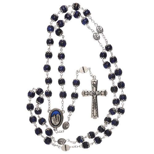 Terço Nossa Senhora Lourdes vidro azul escuro 6 mm 4