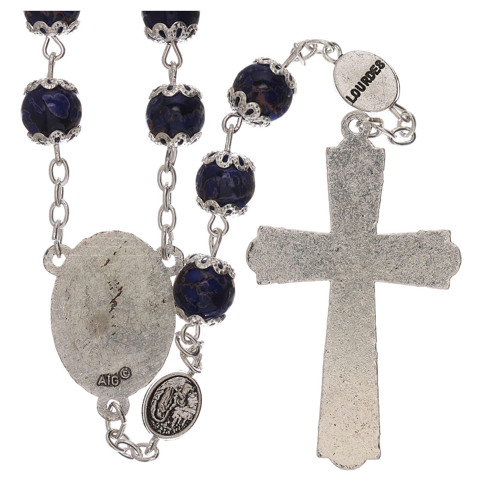 Our Lady of Lourdes rosary blue glass 6 mm 4