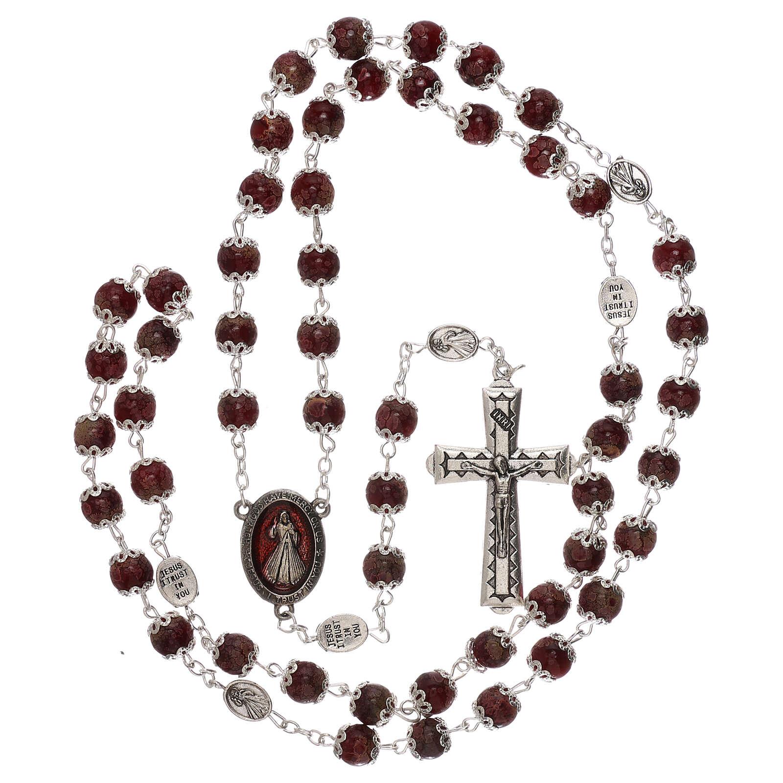 Rosario Virgen Misericordiosa divina vidrio rojo 6 mm 4