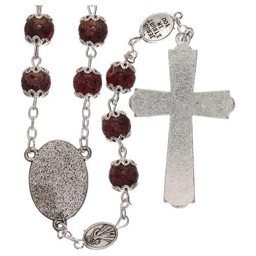 Rosario Madonna Misericordia divina vetro rosso 6 mm 2