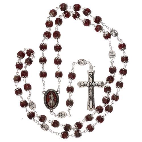 Rosario Madonna Misericordia divina vetro rosso 6 mm 4
