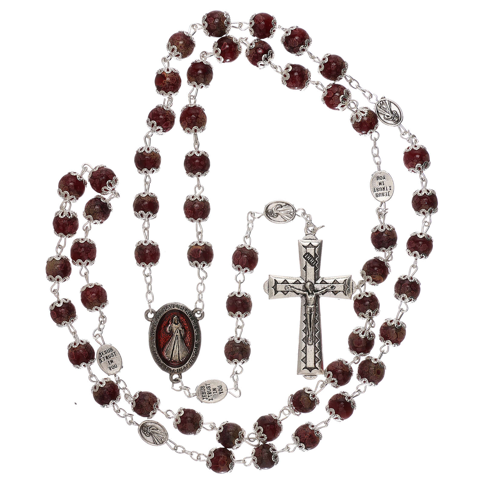 Divine Mercy rosary red glass 6 mm 4