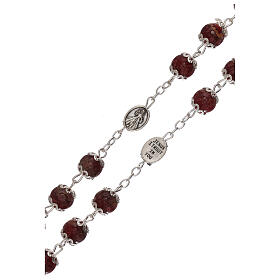 Divine Mercy rosary red glass 6 mm s3