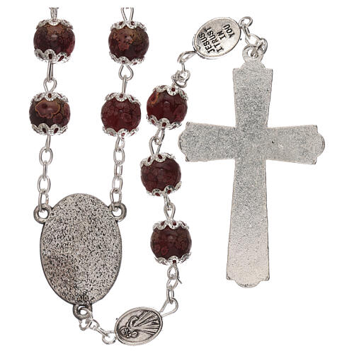 Divine Mercy rosary red glass 6 mm 2