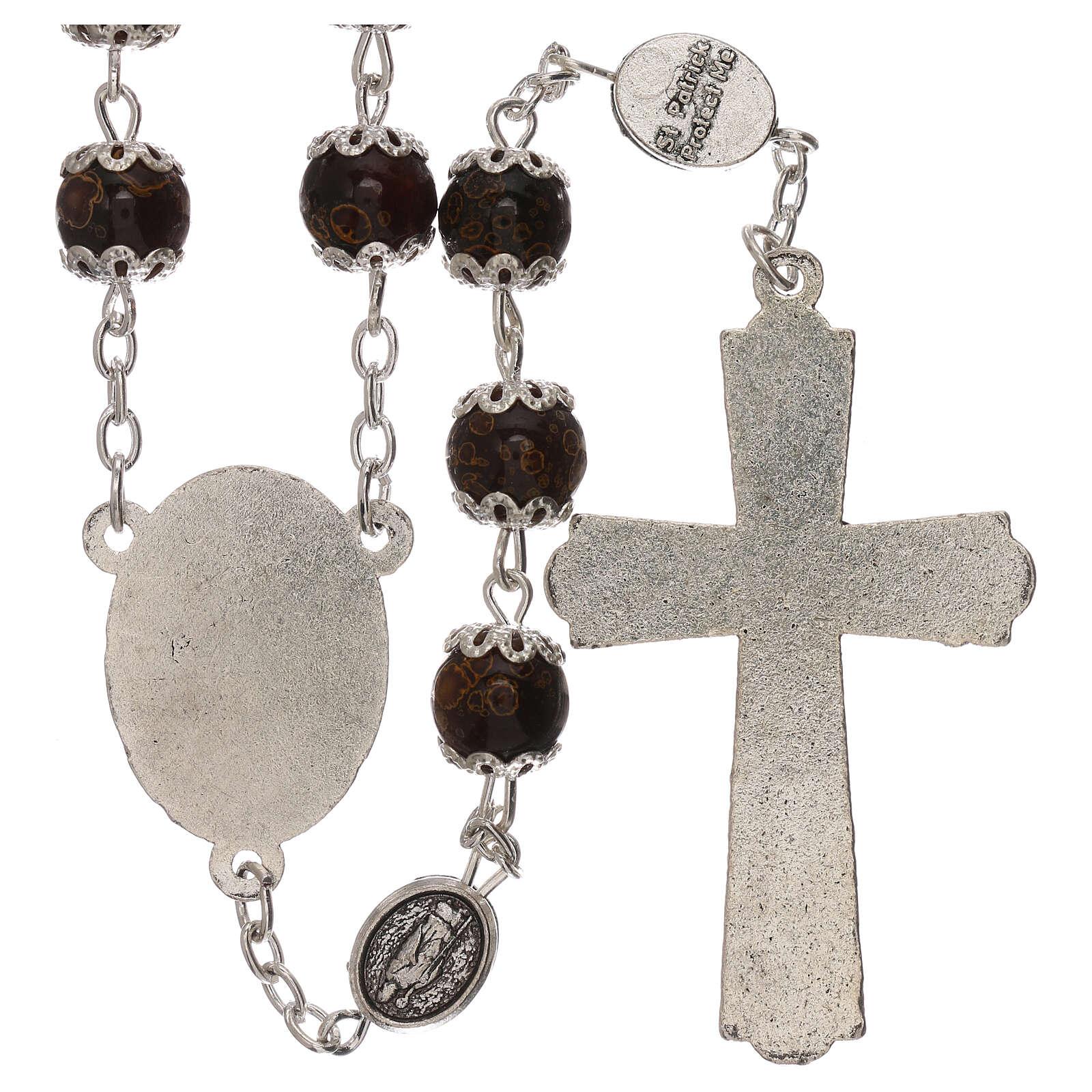 Rosario particular de la cruz San Benito vidrio marrón 6 mm 4