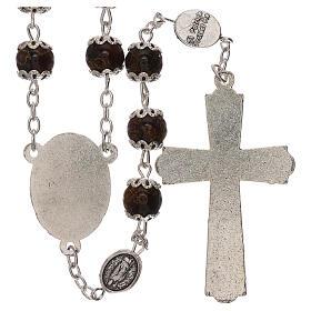 Rosario particular de la cruz San Benito vidrio marrón 6 mm s2