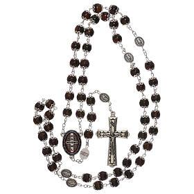 Rosario particular de la cruz San Benito vidrio marrón 6 mm s4
