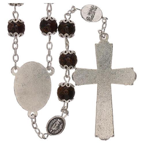 Rosario particular de la cruz San Benito vidrio marrón 6 mm 2