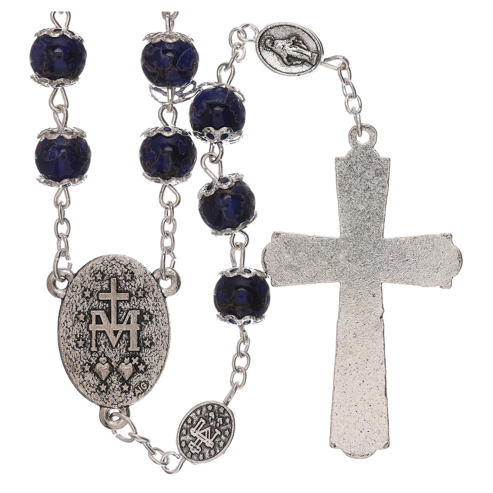 Rosario Madonna Miracolosa vetro blu 6 mm 4