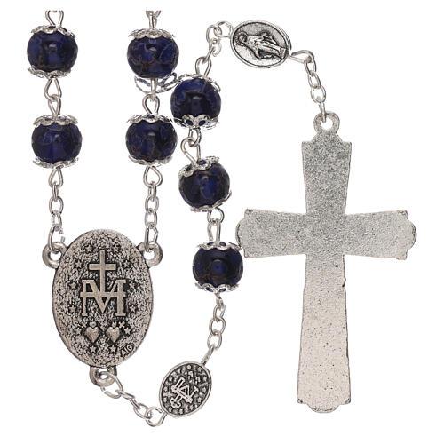 Rosario Madonna Miracolosa vetro blu 6 mm 2
