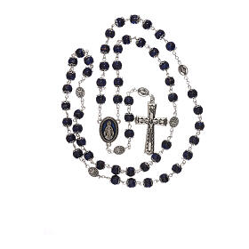 Miraculous Medal rosary blue glass 6 mm s4