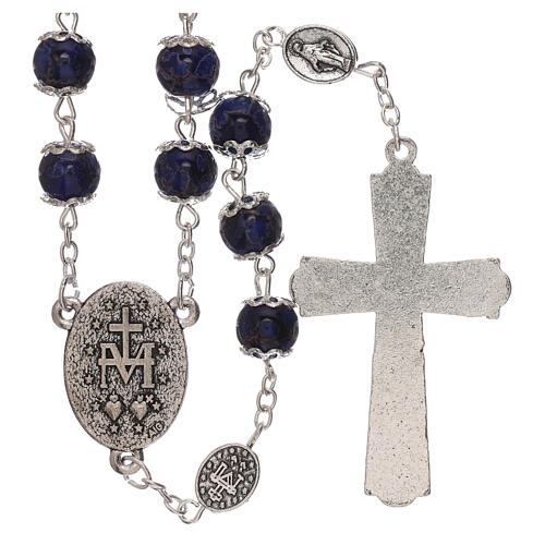 Miraculous Medal rosary blue glass 6 mm 2