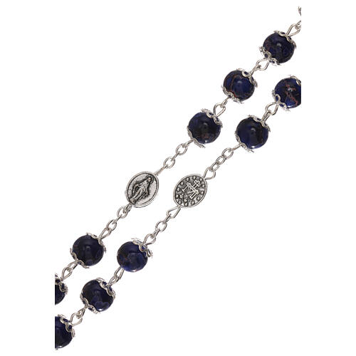 Miraculous Medal rosary blue glass 6 mm 3