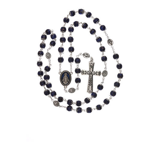 Miraculous Medal rosary blue glass 6 mm 4
